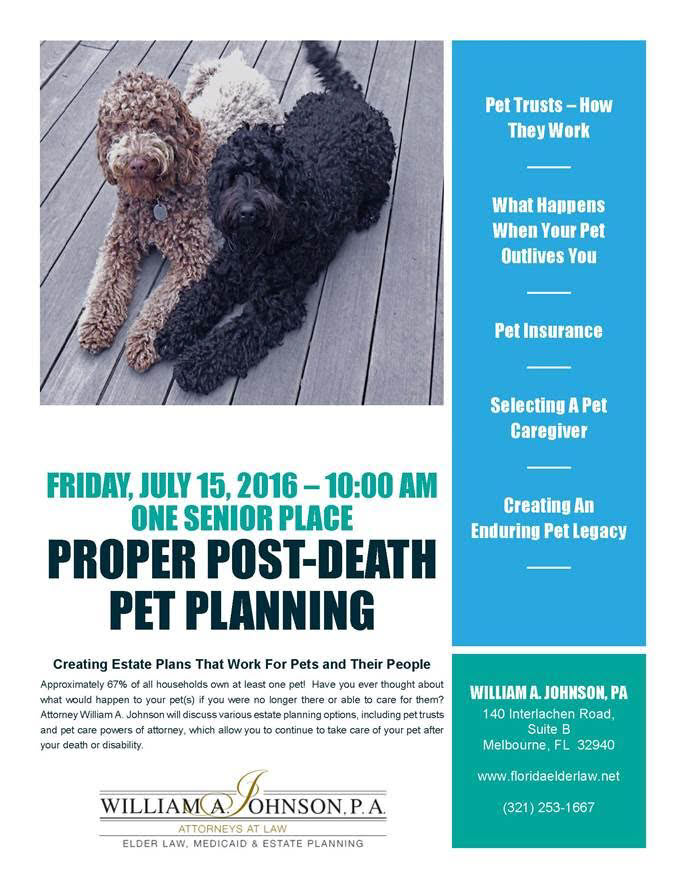 The Peace of mind in knowing that your pet will be cared for after your death. See our events page for directions to event.